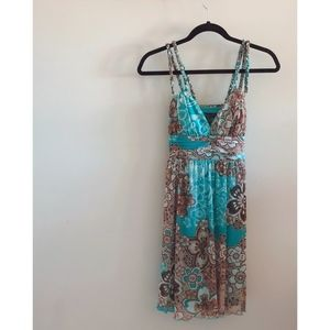 City Triangles Turquoise/Brown Flowered Dress